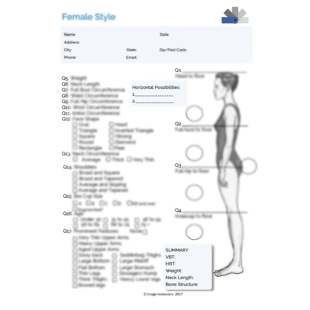 女性用体型測定表